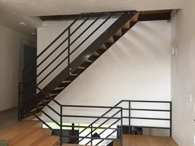 Stair case powder coated steel with Oak